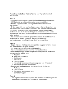 Fases Organisatie Best Practice Talents and Topics