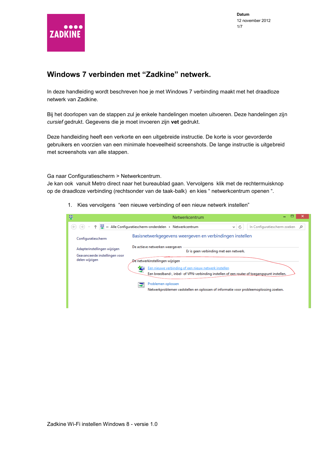 Zadkine Wi Fi Instellen Windows 8 V10