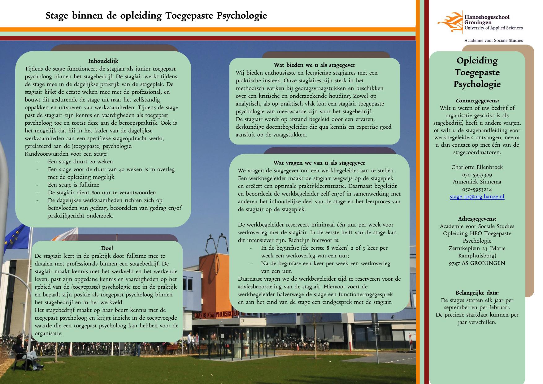 stage toegepaste psychologie