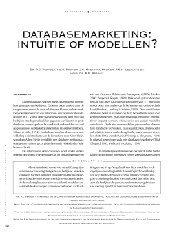 DATABASEMARKETING: INTUITIE OF MODELLEN?
