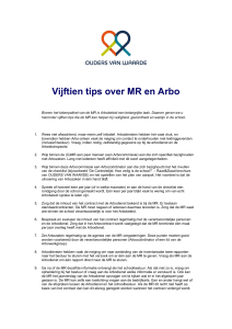 Vijftien tips over MR en Arbo