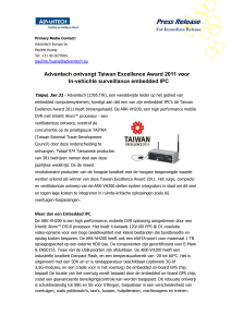 Advantech ontvangt Taiwan Excellence Award 2011 voor In