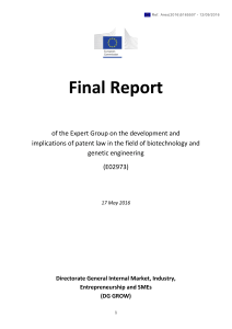 Report of Biotech Expert Group
