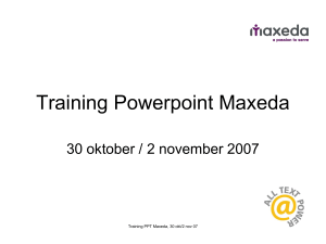Training Powerpoint Maxeda