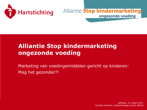 Alliantie Stop kindermarketing ongezonde voeding