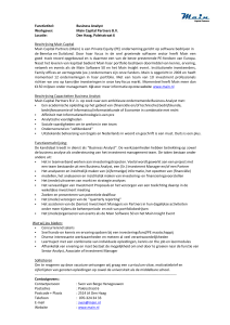 Functietitel: Business Analyst Werkgever: Main Capital Partners B.V.