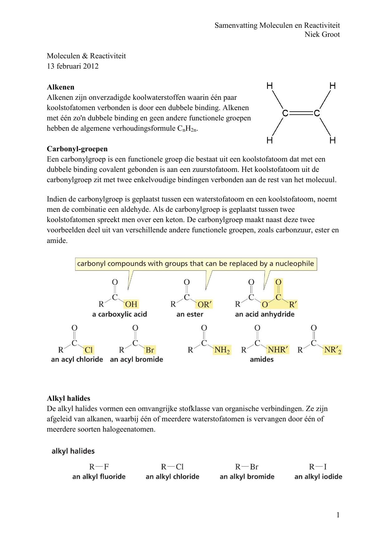 Samenvatting Moleculen En Reactiviteit Niek Groot 1 Moleculen