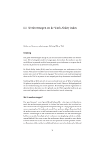 III Werkvermogen en de Work Ability Index