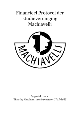 Financieel Protocol der studievereniging Machiavelli
