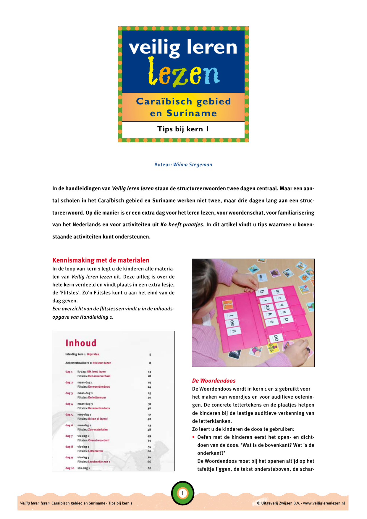 Wonderlijk Tips bij kern 1 - Veilig leren lezen JN-72