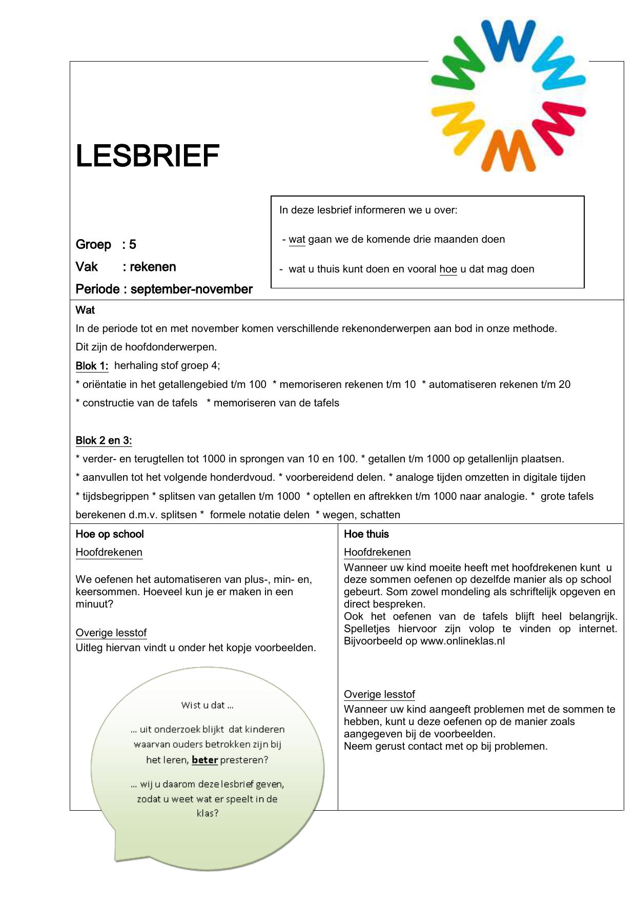 Fonkelnieuw LESBRIEF Groep : 5 Vak : rekenen Periode : september VO-99