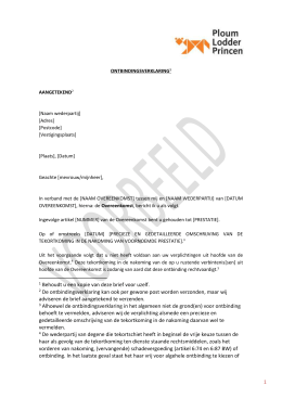 Brief consument tot ontbinding koopovereenkomst