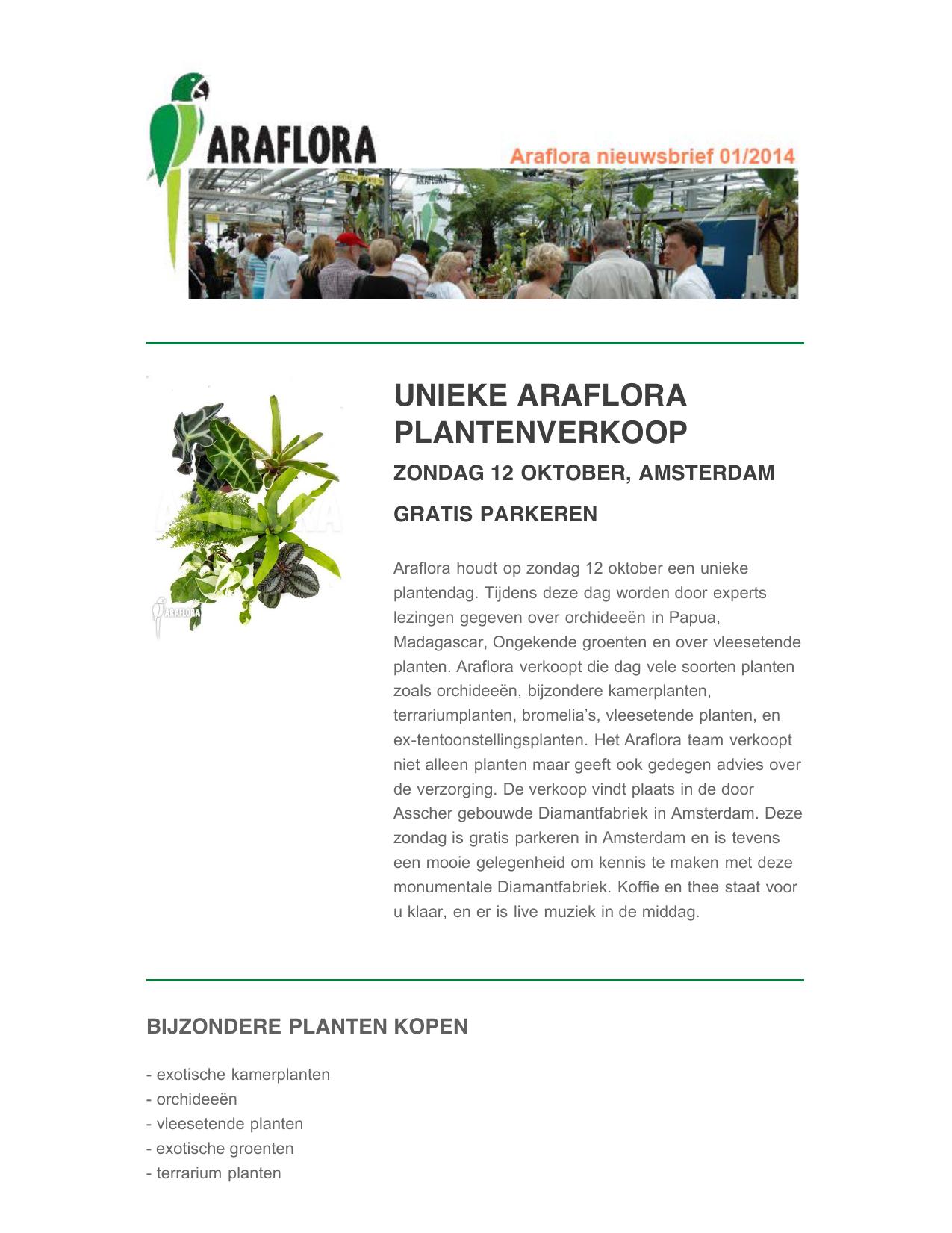 Kamerplanten Kopen Amsterdam.Unieke Araflora Plantenverkoop