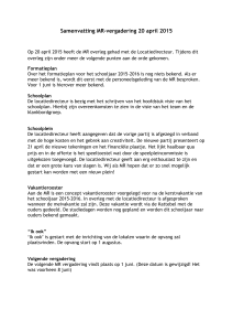 Samenvatting vergadering MR 20-04-2015