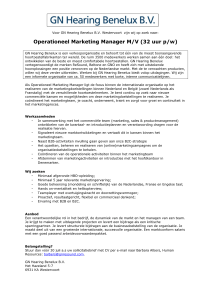 Operationeel Marketing Manager M/V (32 uur p/w)