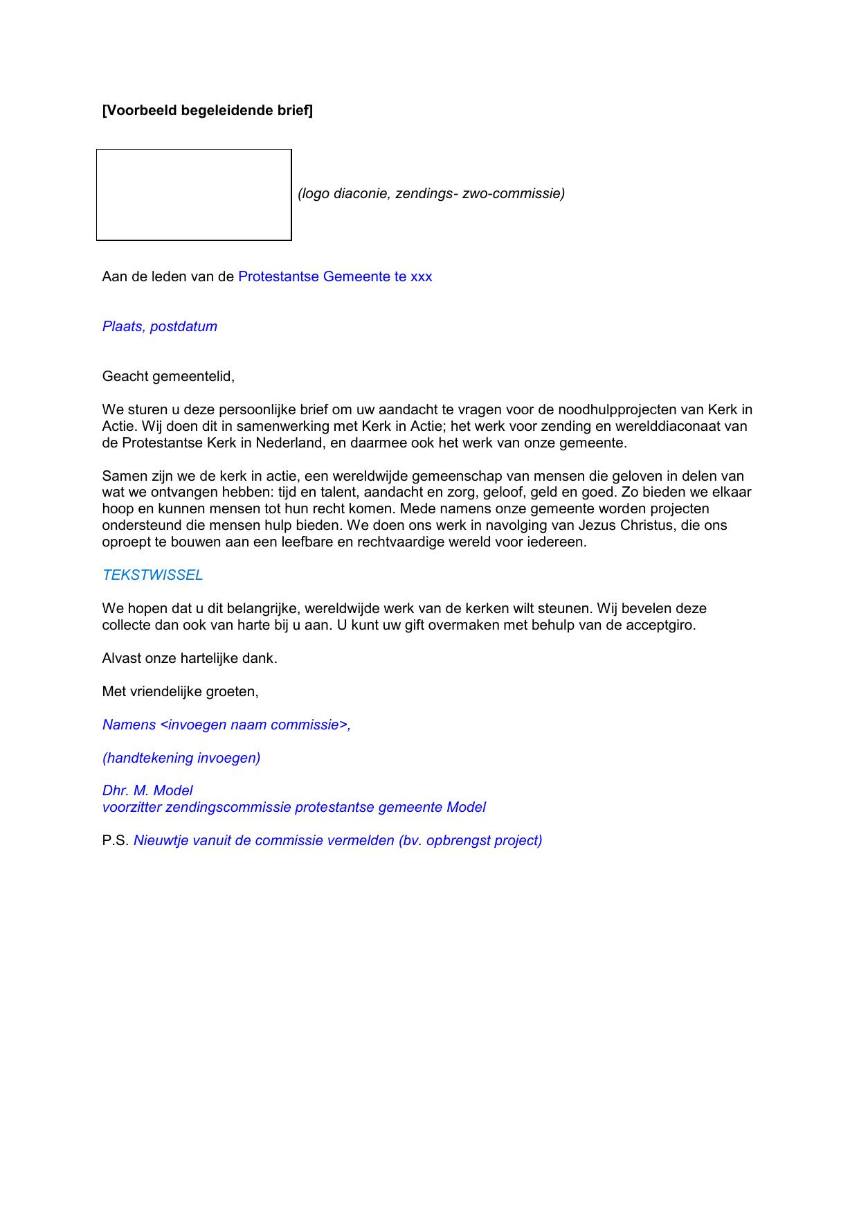 voorbeeld begeleidende brief Voorbeeld begeleidende brief