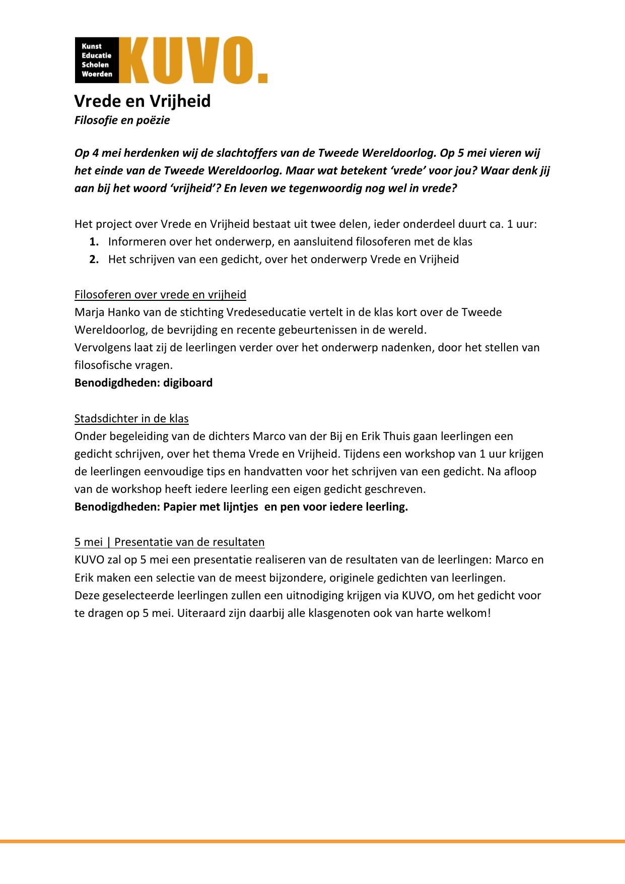 Fonkelnieuw Vrede en Vrijheid informatiebrief KL-11