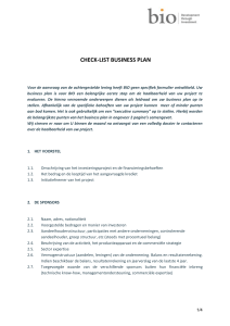 Check-list business plan - BIO
