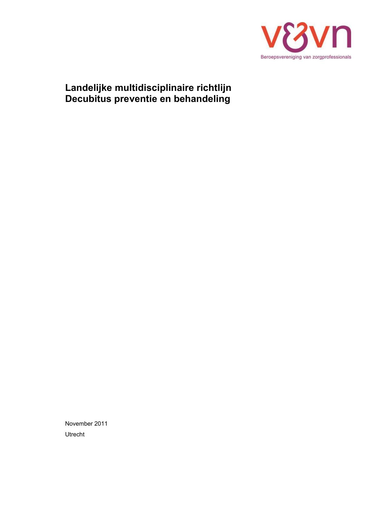 Landelijke multidisciplinaire richtlijn Decubitus