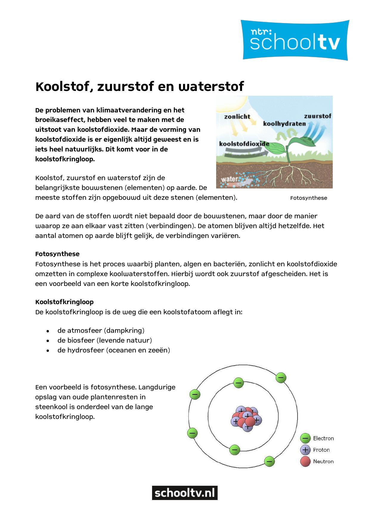 Koolstof Zuurstof En Waterstof