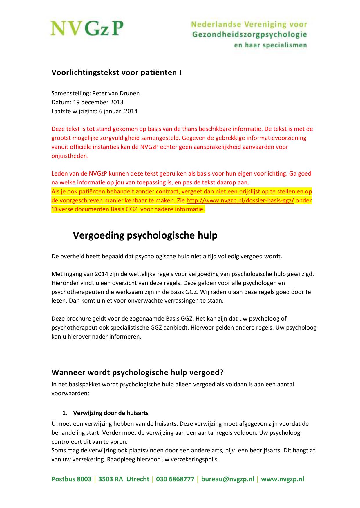 vergoeding psychologische hulp