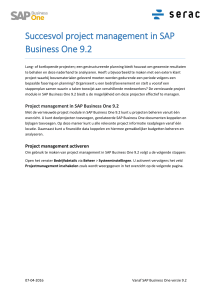 Succesvol project management in SAP Business One 9.2