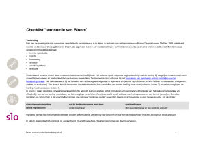 Checklist `taxonomie van Bloom`