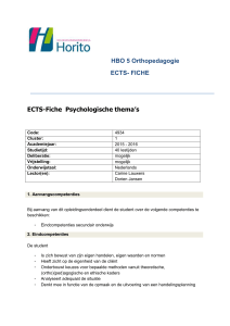 HBO 5 Orthopedagogie ECTS- FICHE ECTS