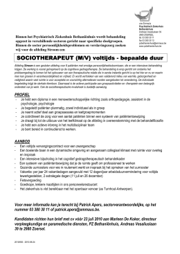 SOCIOTHERAPEUT SOCIOTHERAPEUT (M/V) voltijds