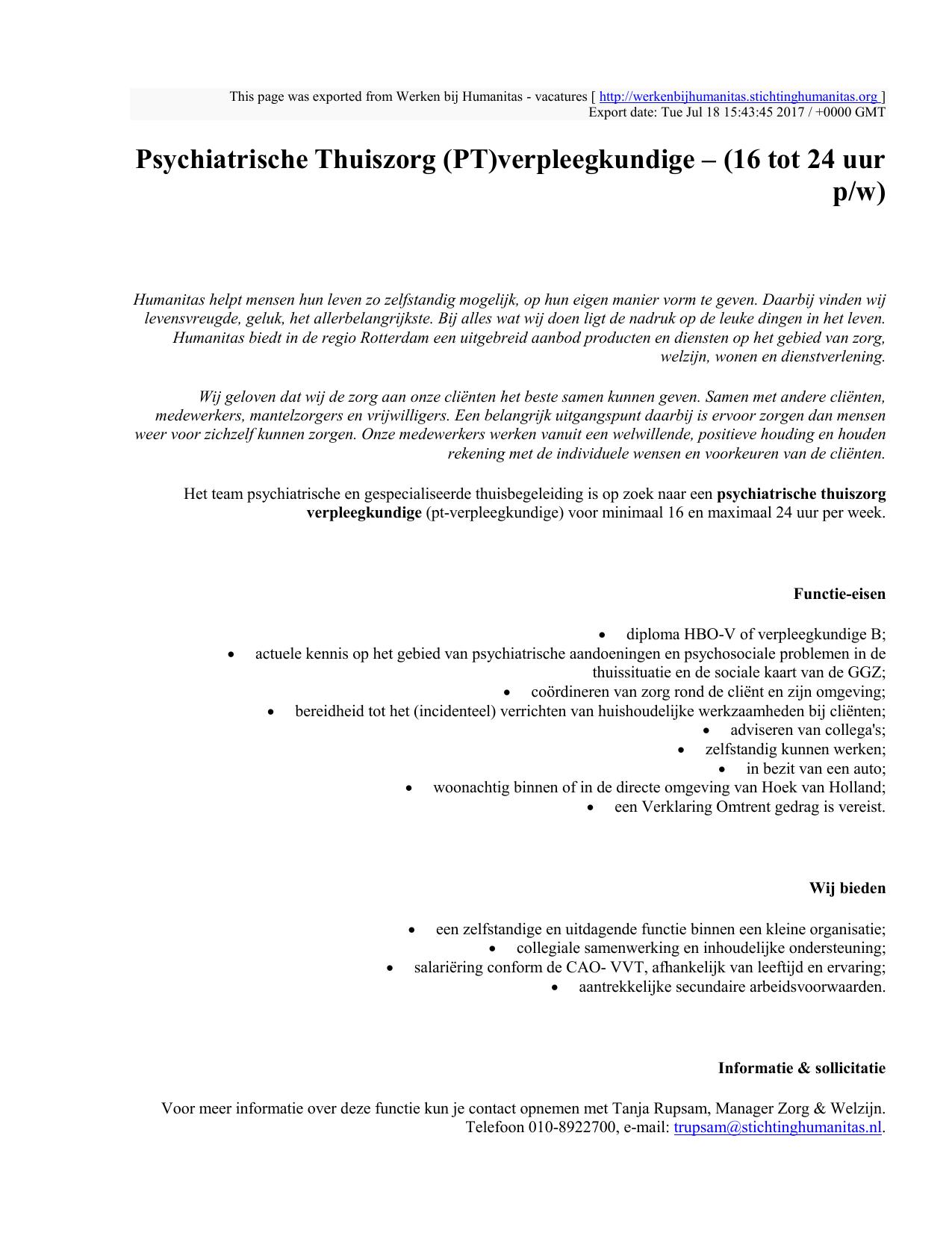Psychiatrische Thuiszorg (PT)verpleegkundige – (16 tot 24