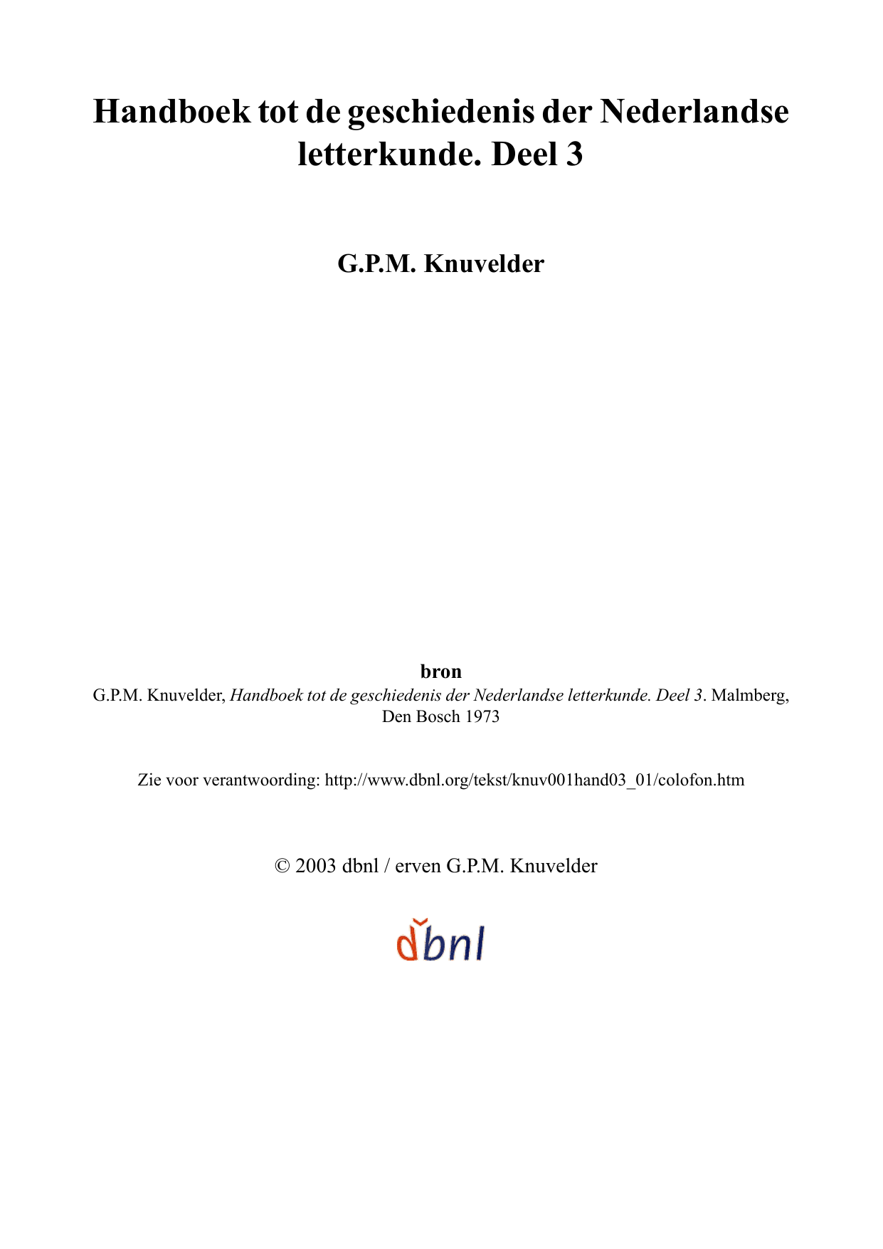 Handboektotdegeschiedenisdernederlandse Letterkunde