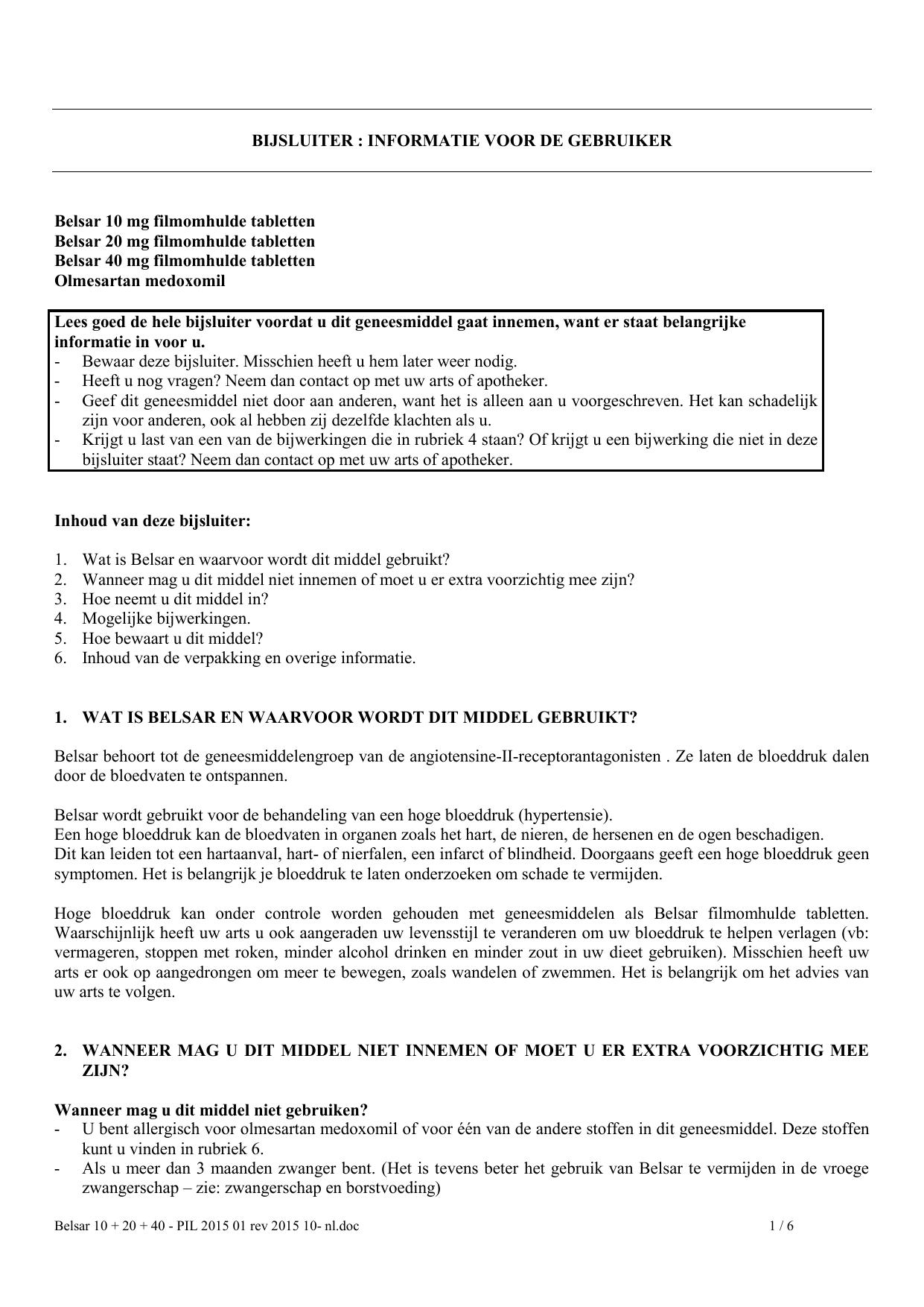 Bijsluiter Informatie Voor De Gebruiker Belsar 10 Mg