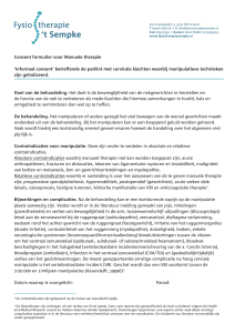 Consent formulier voor Manuele therapie `Informed consent