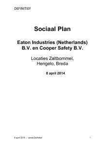 Sociaal Plan Eaton Industries B.V. en Cooper Safety B.V.