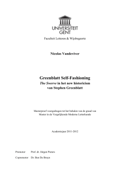 Greenblatt Self-Fashioning - Ghent University Library