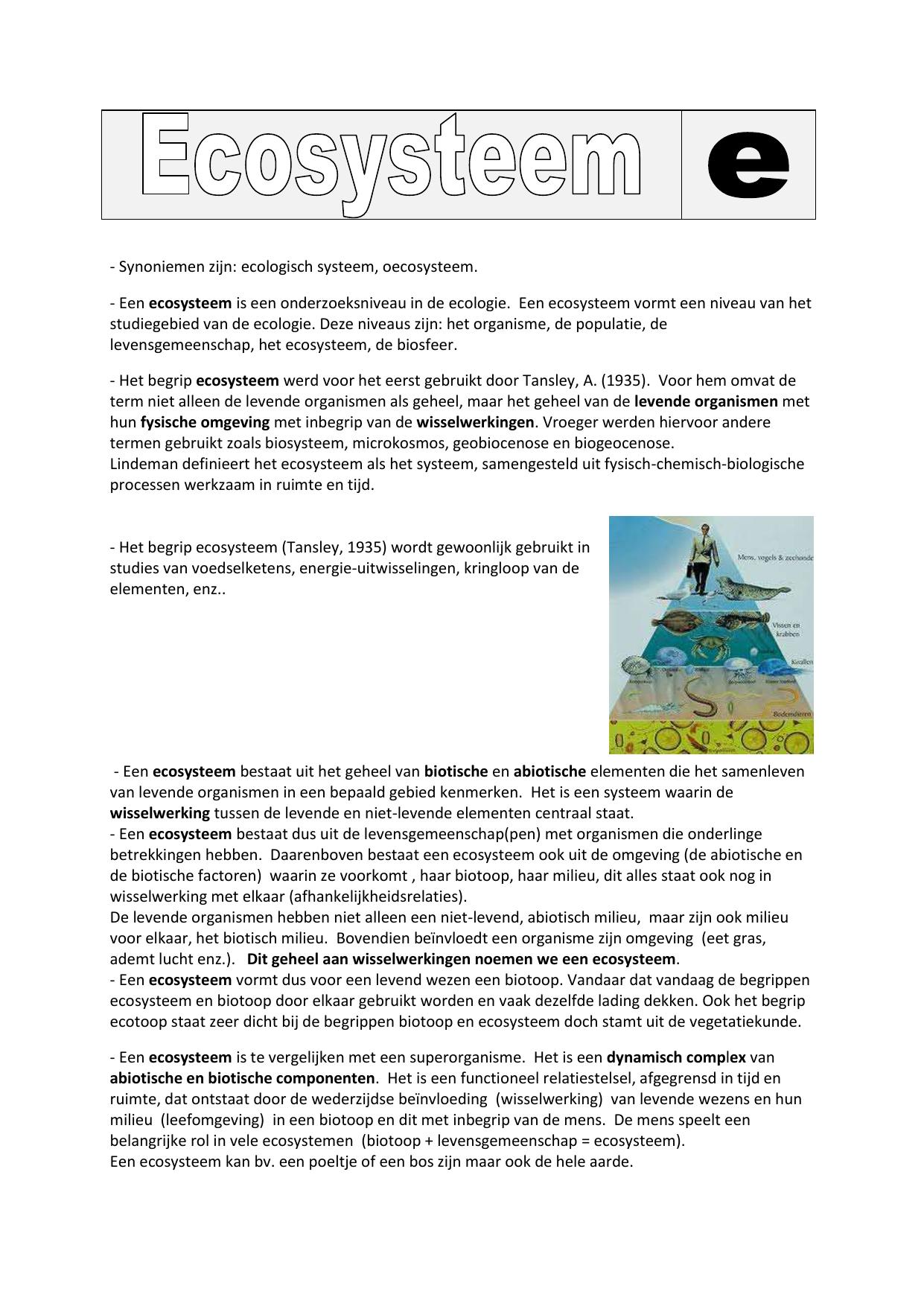 Synoniemen Zijn Ecologisch Systeem Oecosysteem