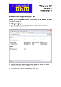 Netwerkinstellingen Windows XP t
