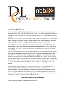 Dutch Classic League 2015 - 2016 De NBB gaat in seizoen 2015