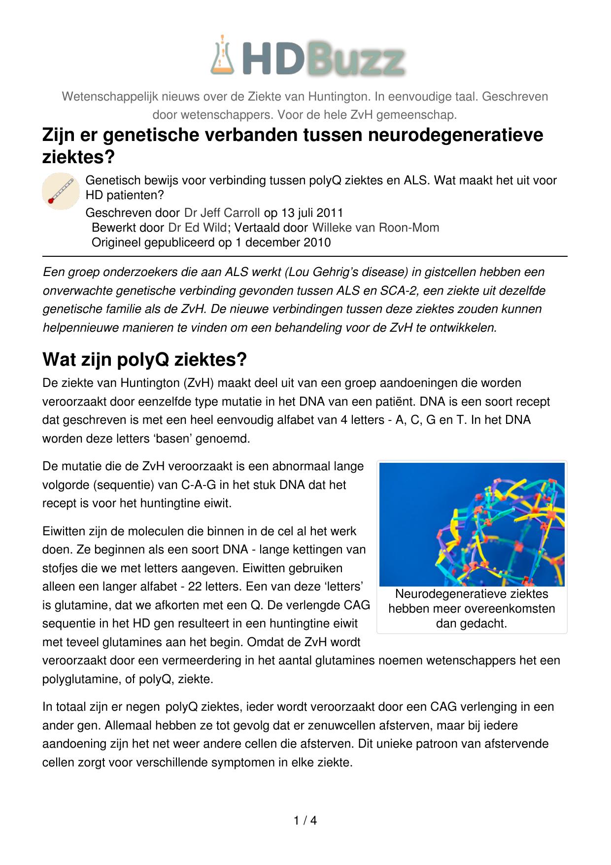 Zijn Er Genetische Verbanden Tussen Neurodegeneratieve