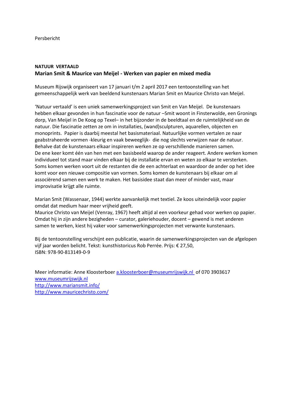 Papier Tentoonstelling Rijswijk.Natuur Vertaald Museum Rijswijk