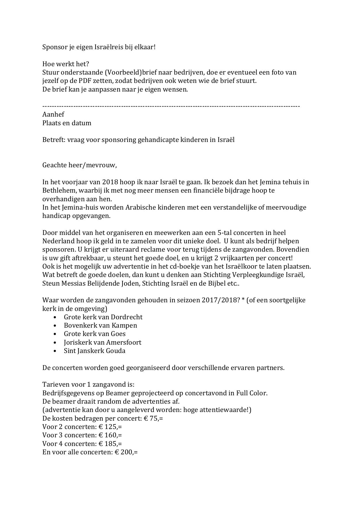 sponsor brief voorbeeld