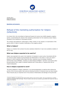 Refusal of the marketing authorisation for Xeljanz