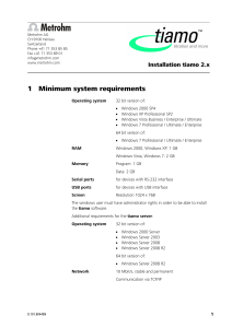 1 Minimum system requirements