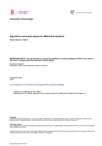 University of Groningen Algorithms and moduli spaces for