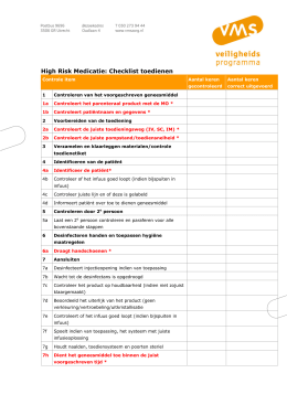 High Risk Medicatie: Checklist toedienen