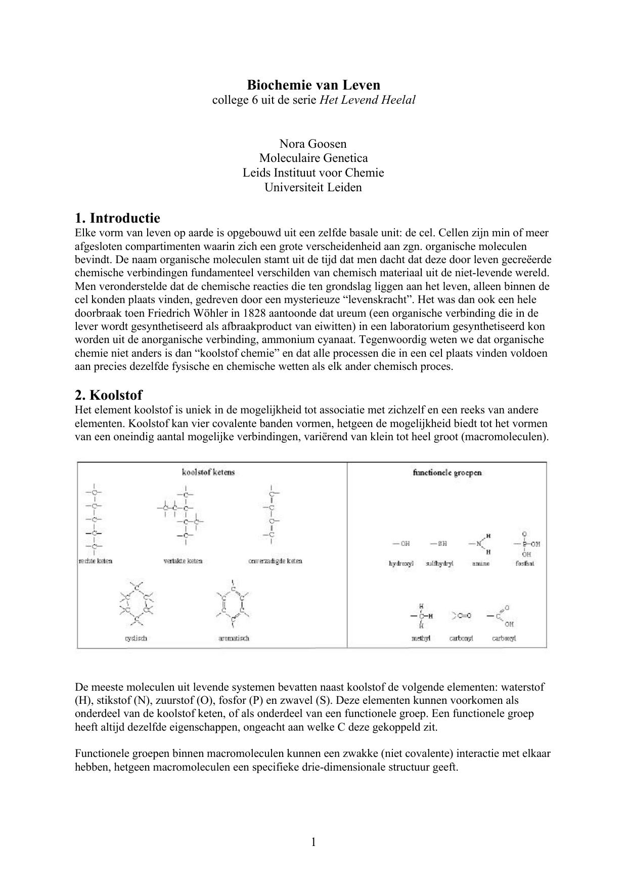 Biochemie Van Leven 1 Introductie 2 Koolstof