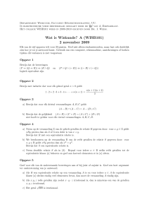 Wat is Wiskunde? A (WISB101) 2 november 2009