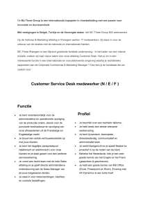 Customer Service Desk medewerker (N / E / F )
