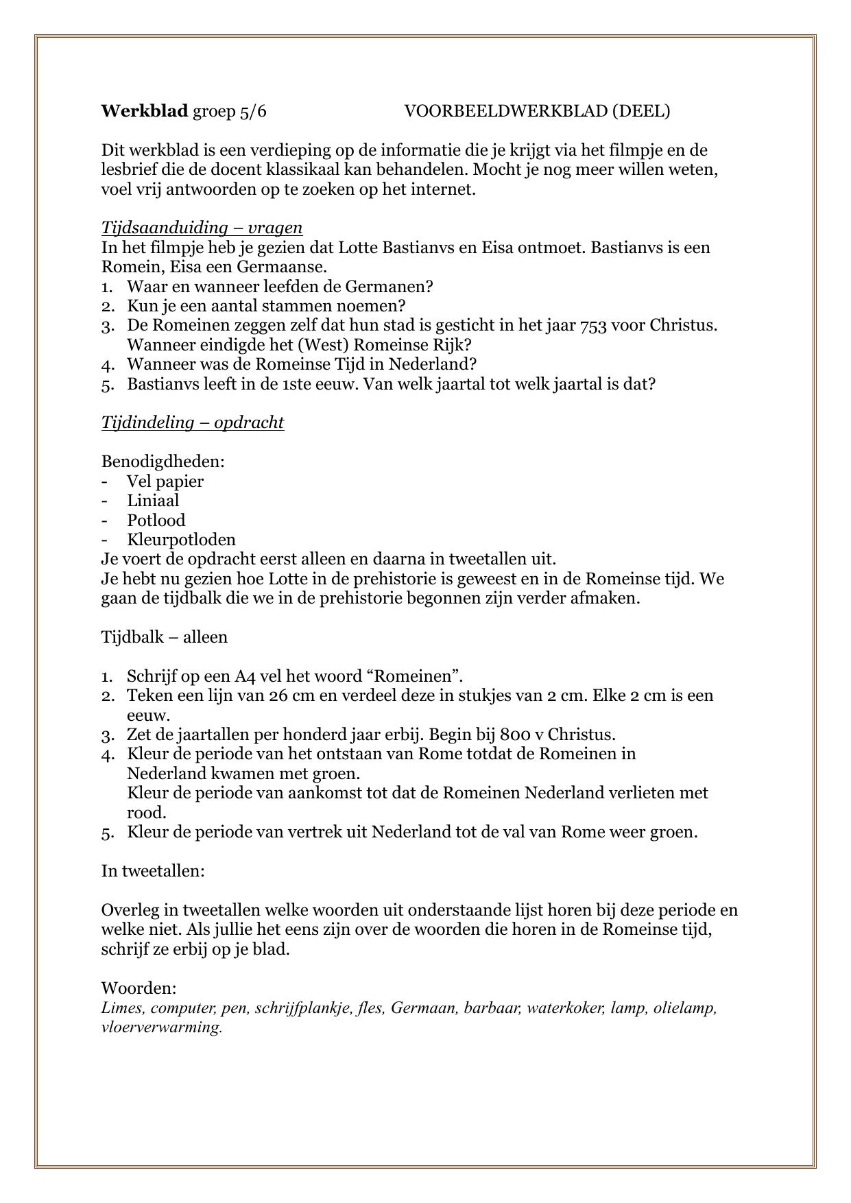 Beste Werkblad groep 5/6 VOORBEELDWERKBLAD XI-94