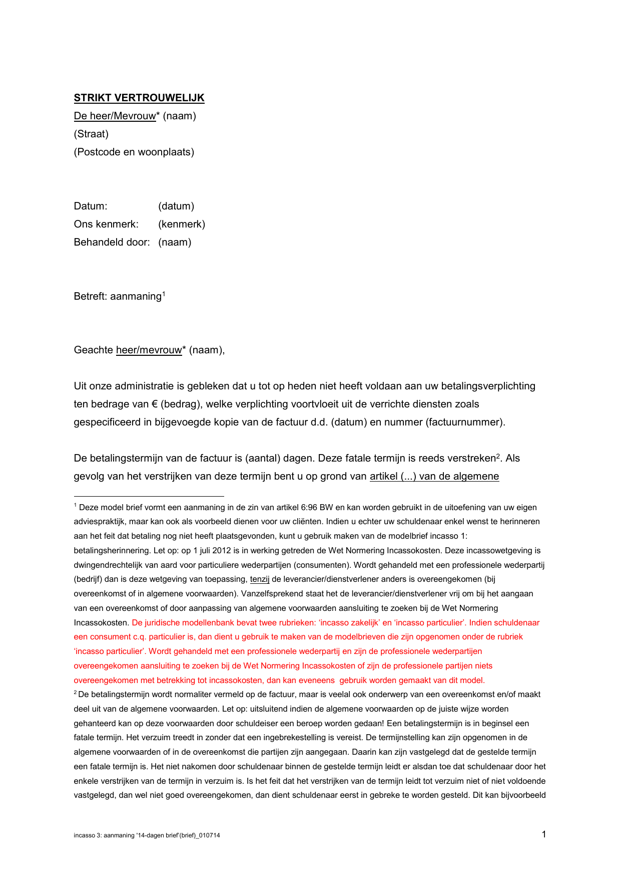 1e aanmaning (brief)   Administratiecollectief